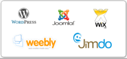 Weebly, Wix, Jimdo, Wordpress, Magento, Joomla add-ons